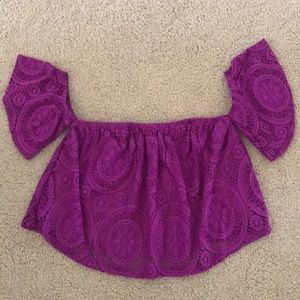 Tops - Purple Off the Shoulder Lace Top